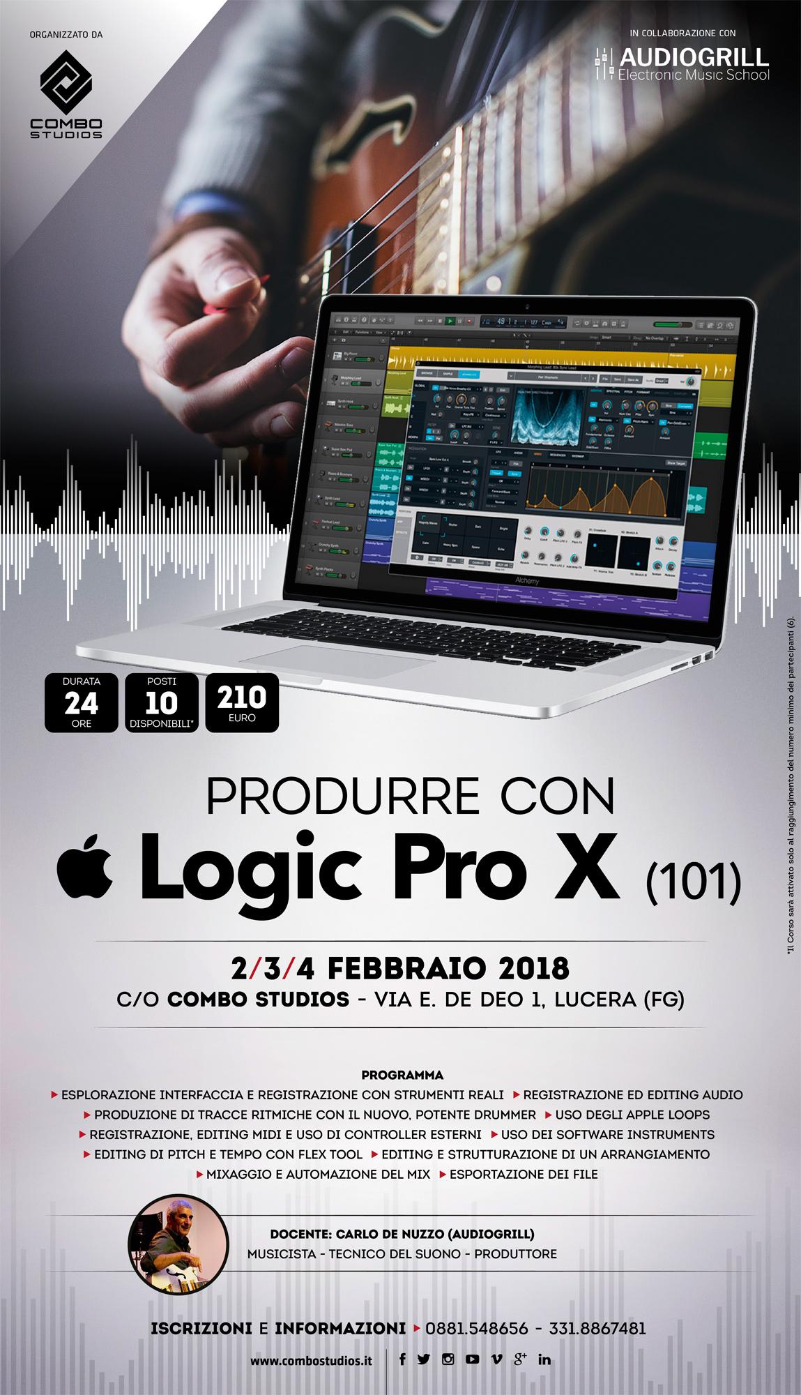 Corso Produrre con Logic Pro X